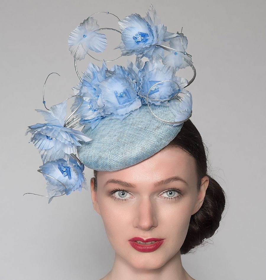 "Cornflower Baby Blue Silver Fasciniator Headpiece Cocktail Ascot Hat with Flowers ""Reba"""